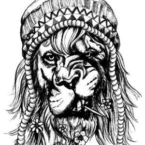 Λιοντάρι Ράστα Σκίτσο Μολύβι
