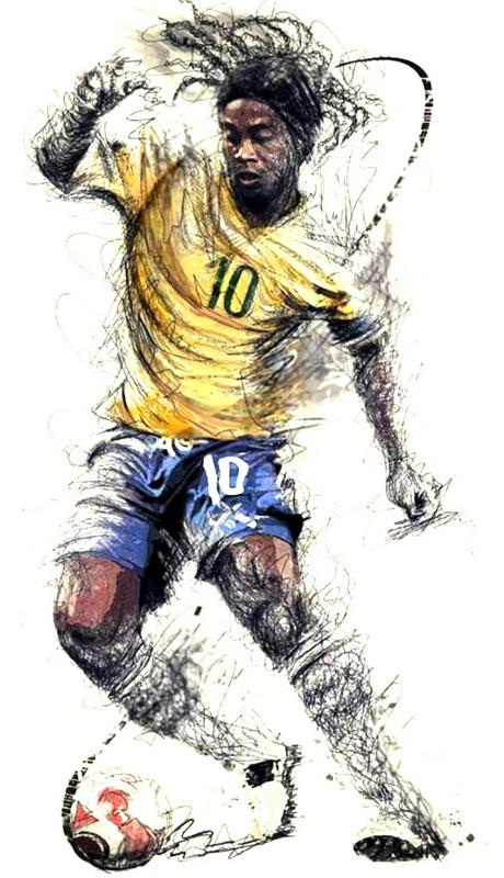 Ronaldinho Football Sketch Print